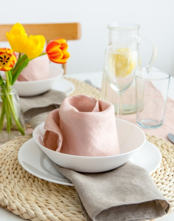 Set of light pink washed linen napkins
