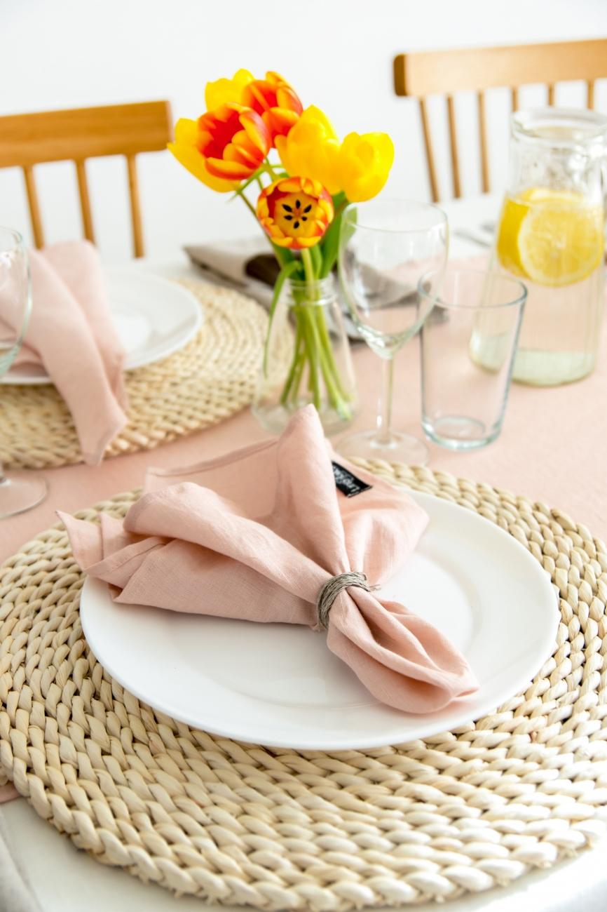 Set of light pink washed linen napkins