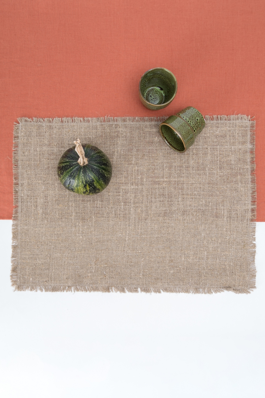 Set of linen burlap table placemats