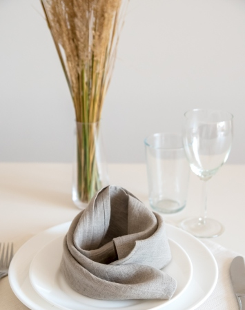 Set of natural washed linen napkins