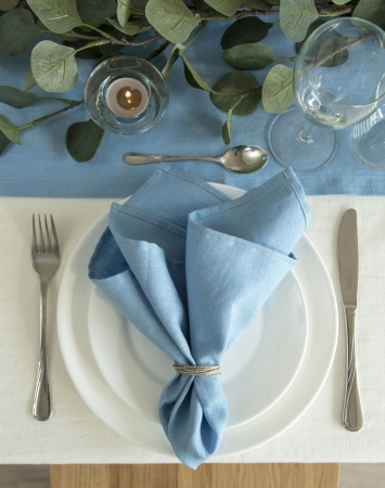 Set of sky blue washed linen napkins