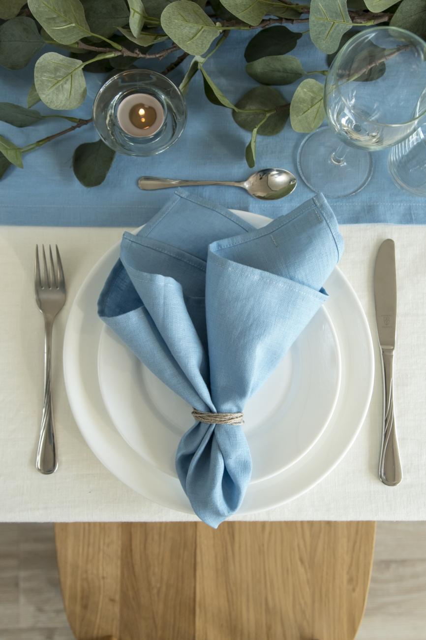 Set of sky blue washed linen napkins