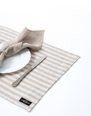 Set of striped linen table placemats