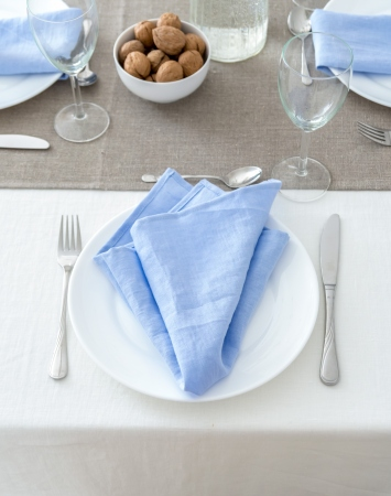 Set of washed linen napkins in cornflower blue