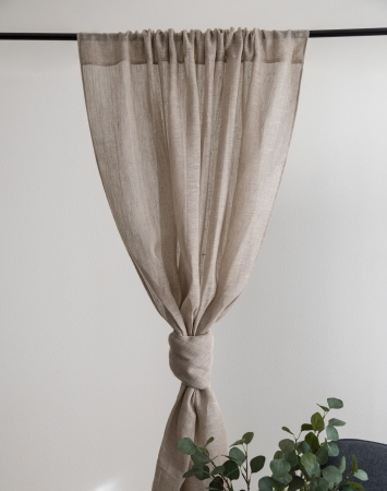 Sheer linen curtain panel with rod pocket