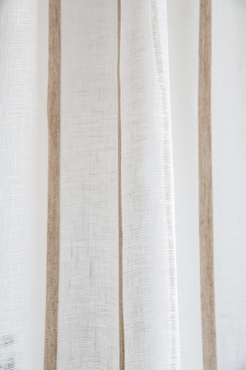 Sheer white striped linen curtain panel with rod pocket