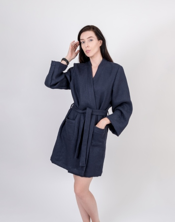 Short dark blue waffle linen bathrobe