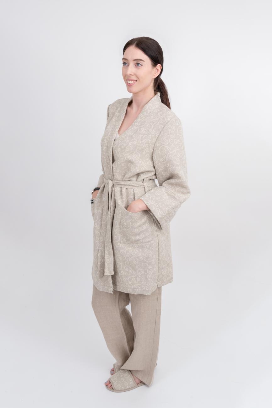 Short linen-cotton blend arabesque robe
