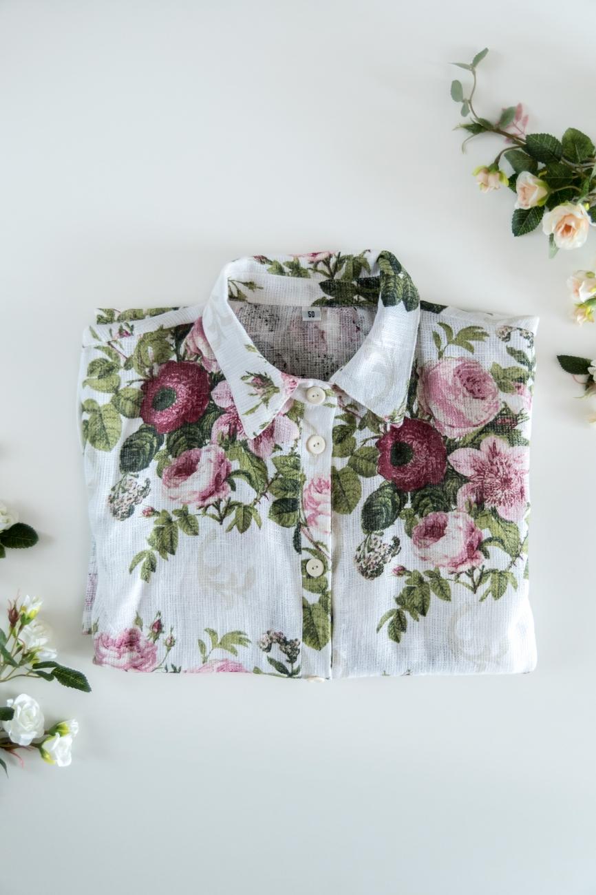 Short sleeve, plus size linen shirt