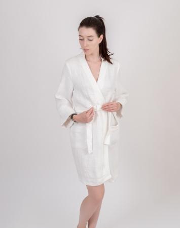 Short white waffle linen bathrobe