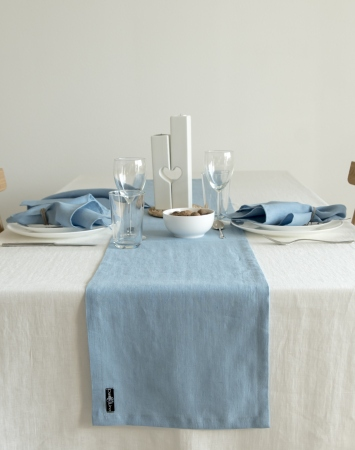 Sky blue linen table runner