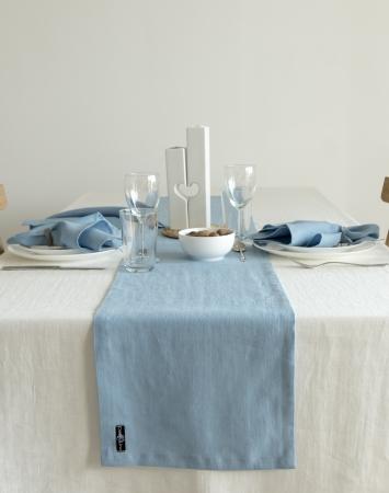 Sky blue linen table runner