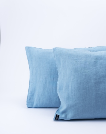 Sky blue washed linen pillowcase with an envelope closure