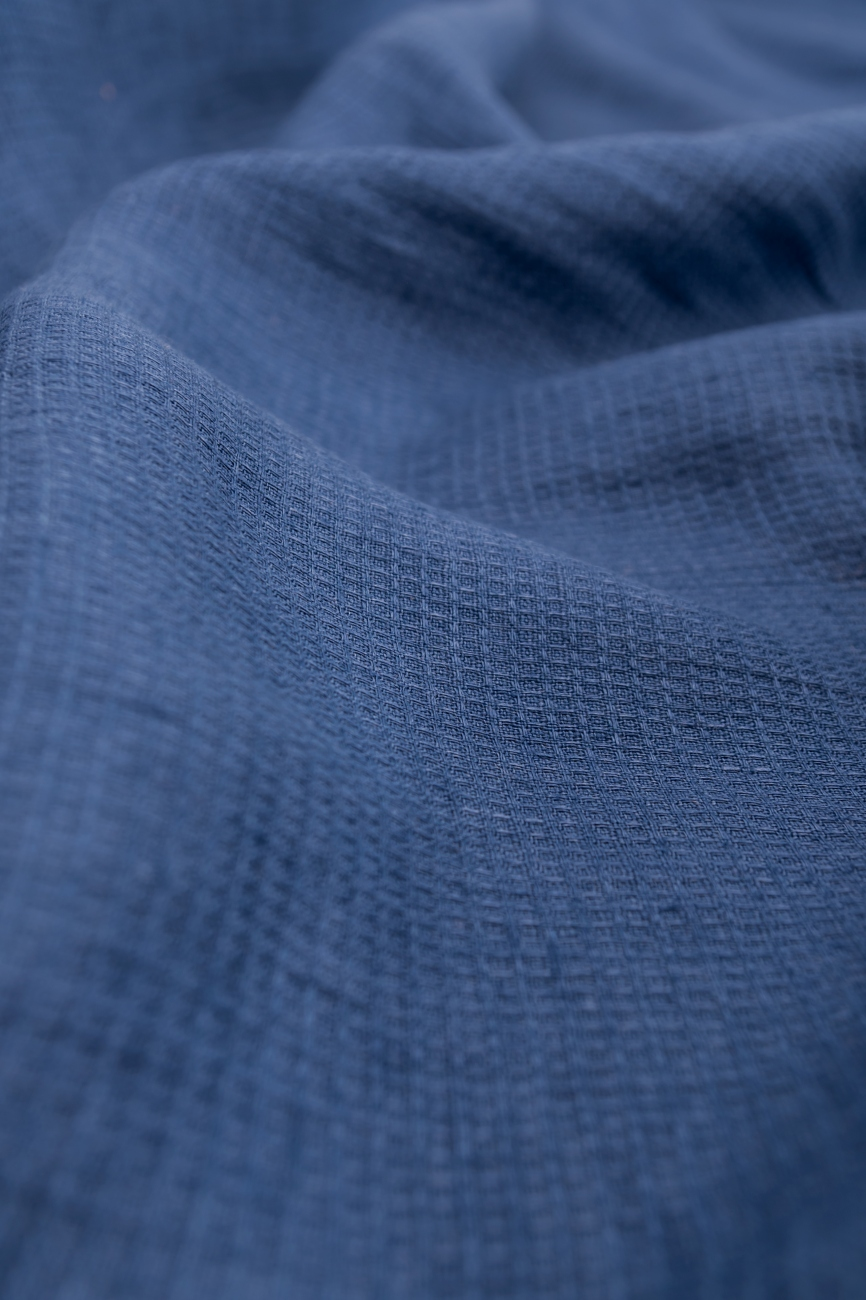 Small waffle linen fabric in ink blue