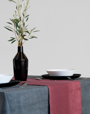 Soft linen table runner in marsala color