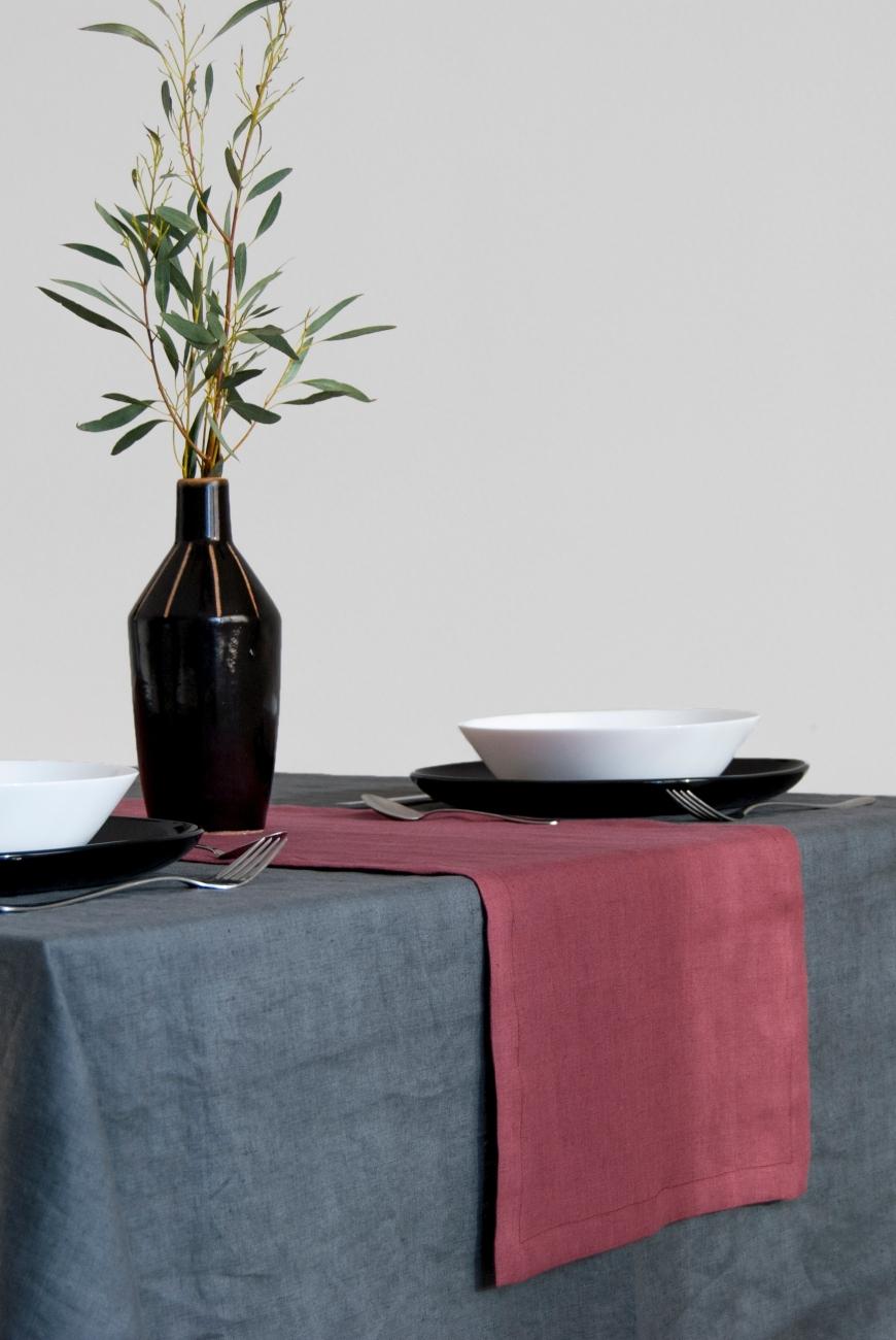 Soft linen table runner in marsala color