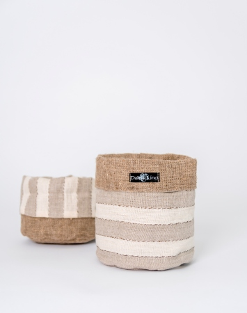 Striped beige linen storage