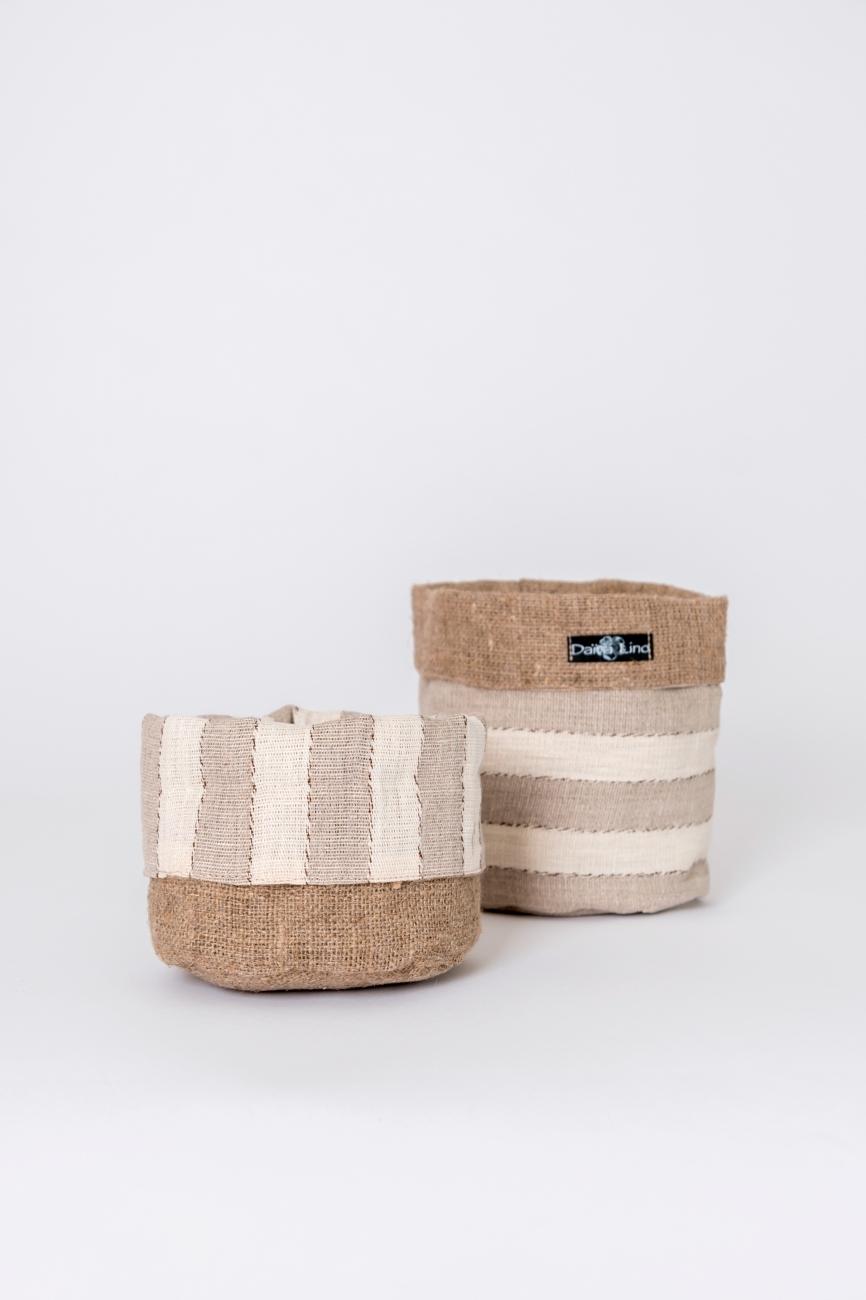 Striped beige linen storage