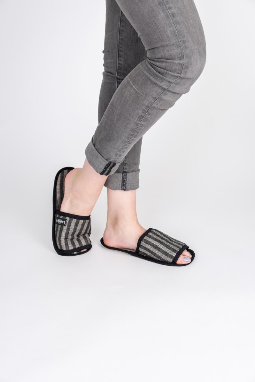 Striped black linen-cotton blend bath slippers