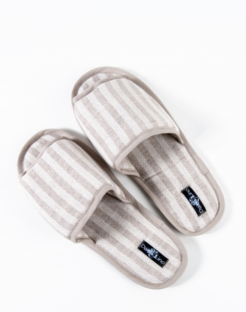 Striped jacquard linen blend bath slippers