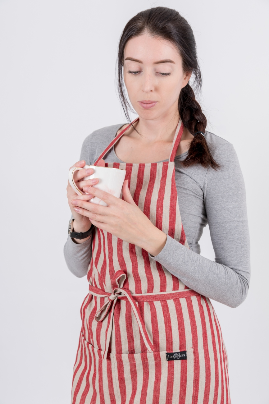 Striped linen bib apron with a double pocket