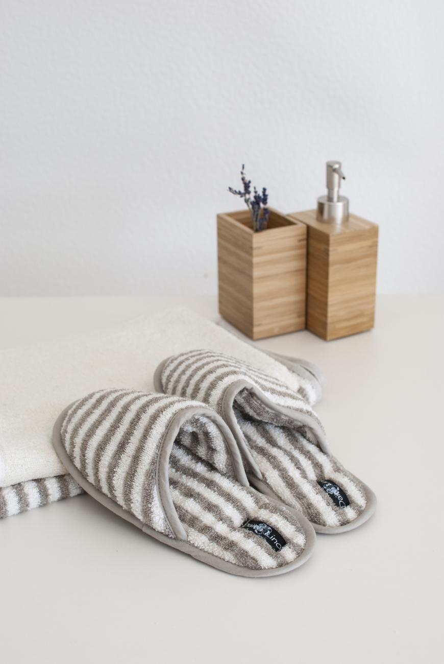 Striped linen blend bath or spa slippers