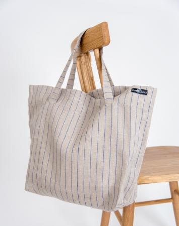 Striped linen shopper bag