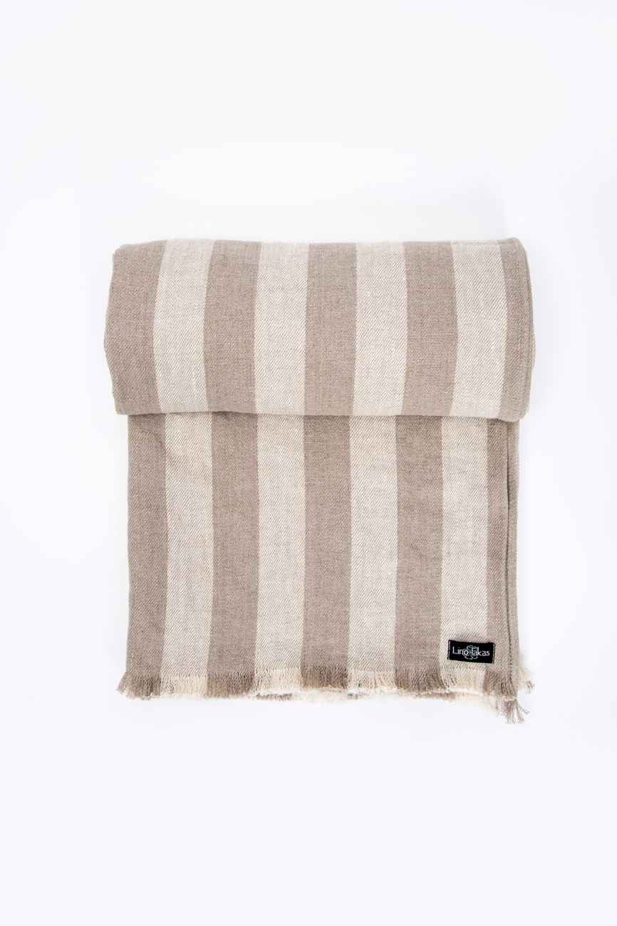 Striped linen twill throw with frayed ends