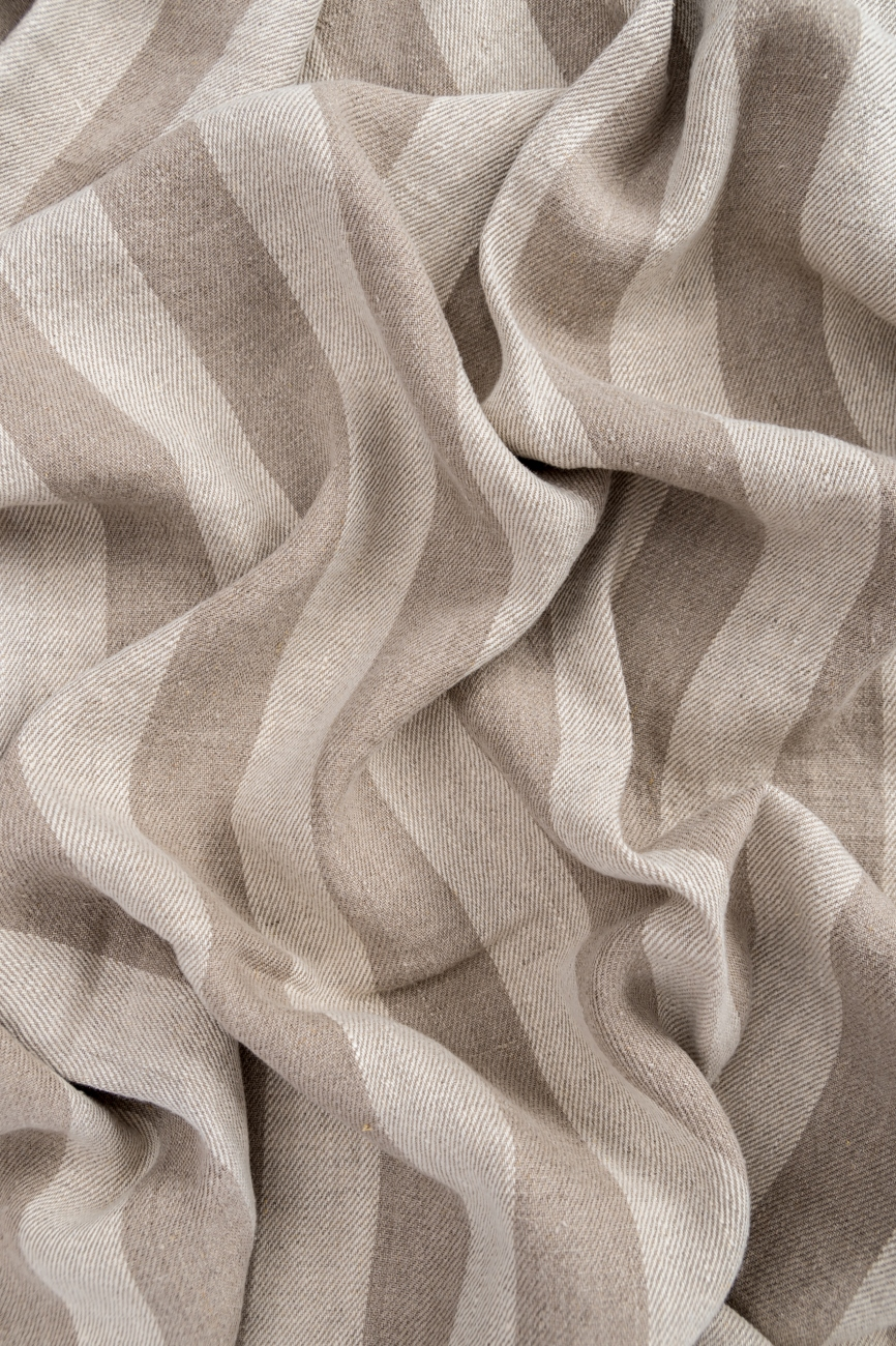 Striped midweight linen twill