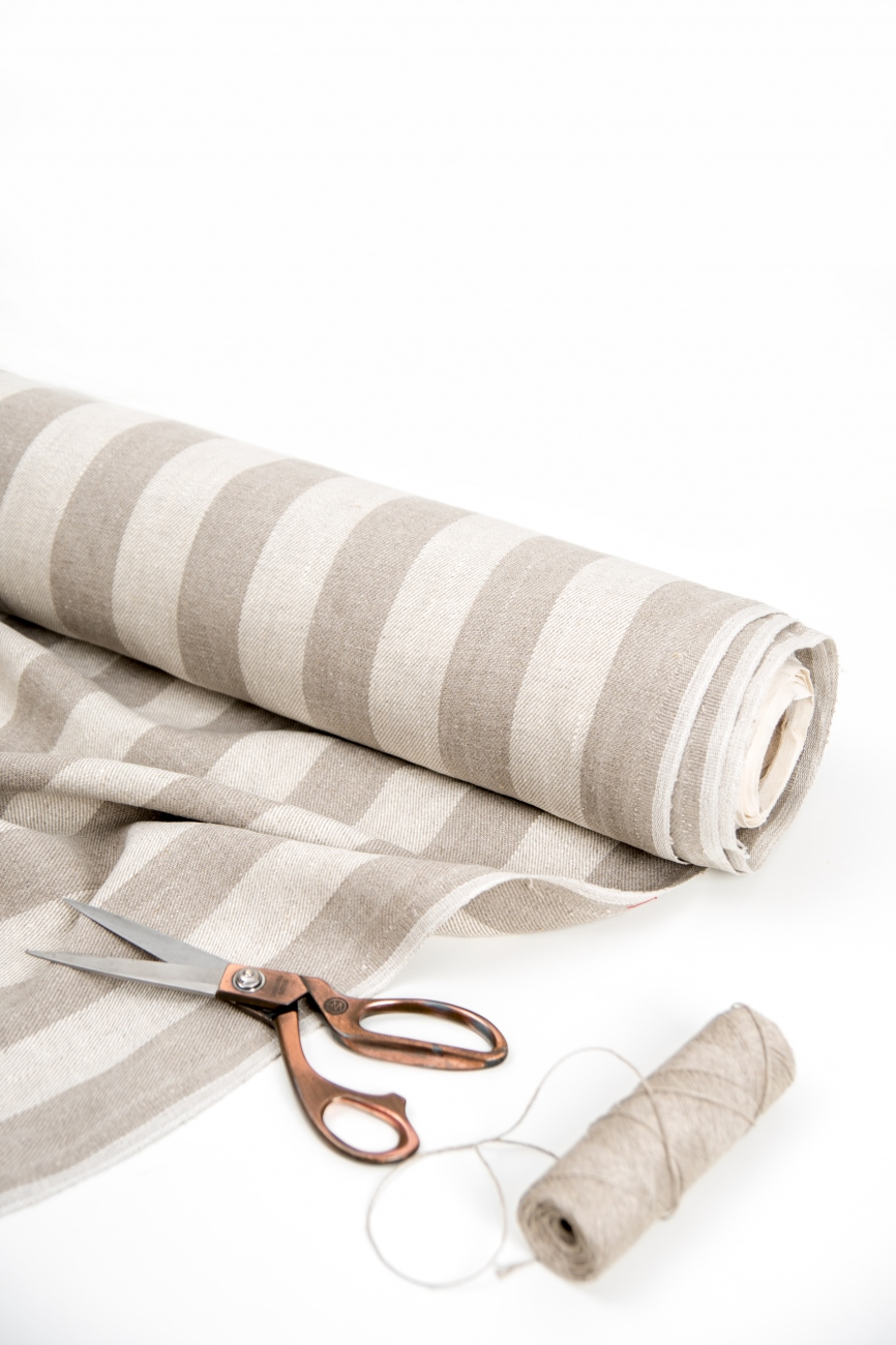 Striped midweight washed linen twill