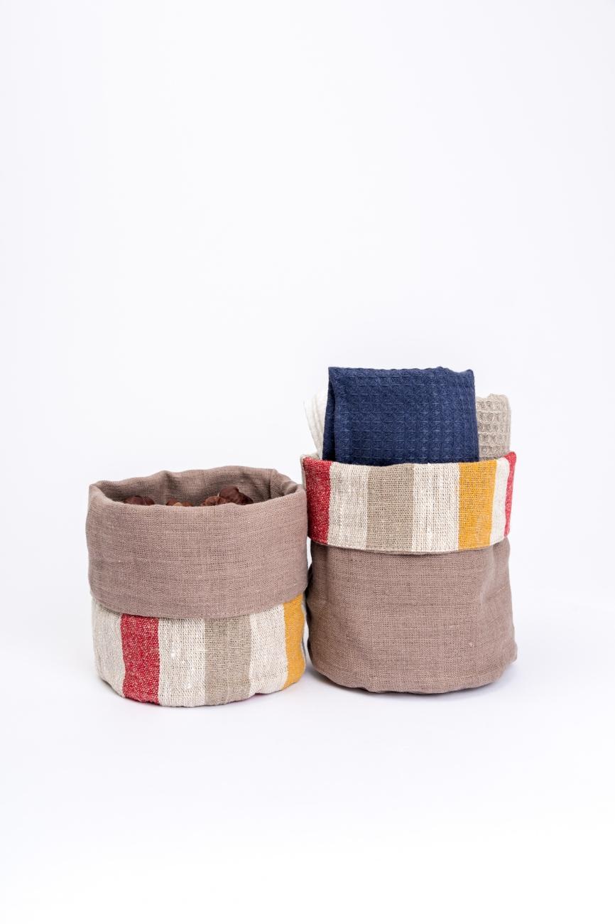 Striped multi-color linen storage bin