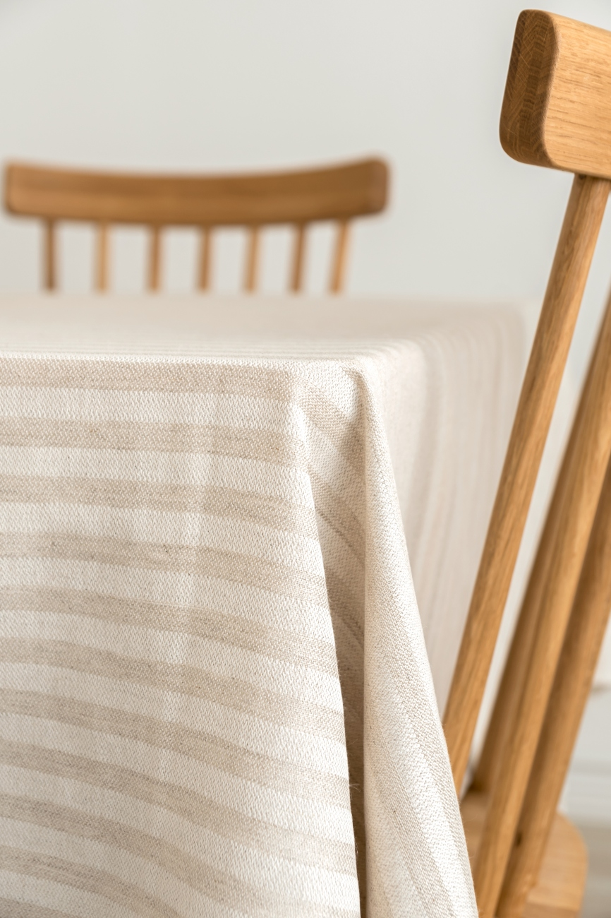 Striped washed linen blend tablecloth