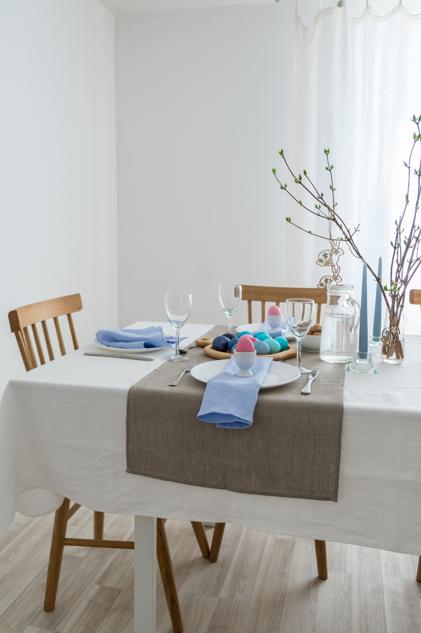 Table runner from natural pre-washed linen