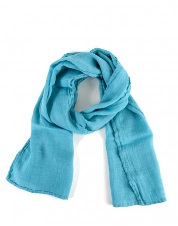 Teal blue linen scarf