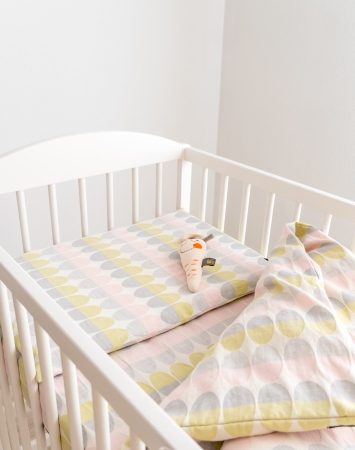 Three piece linen blend baby bedding set