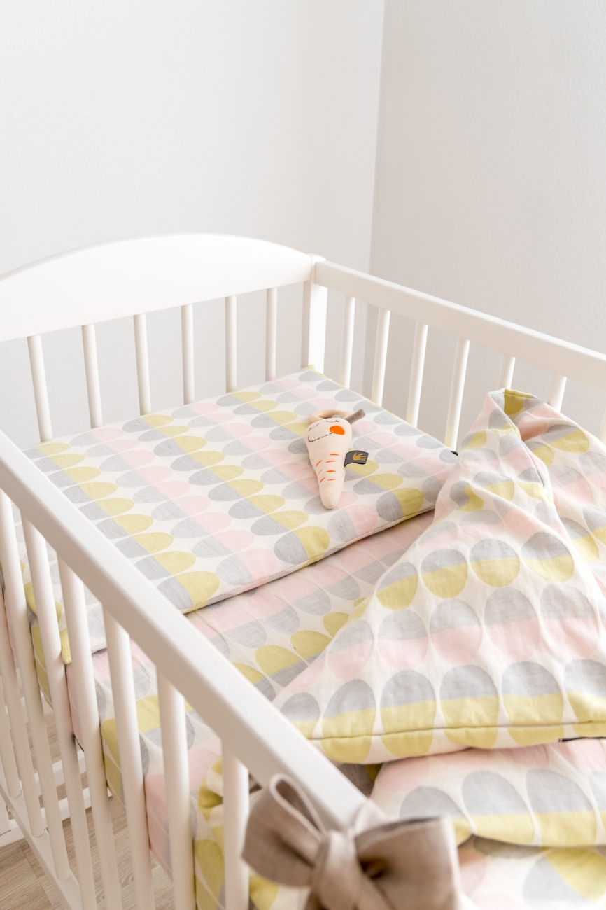 Two piece linen blend baby bedding set