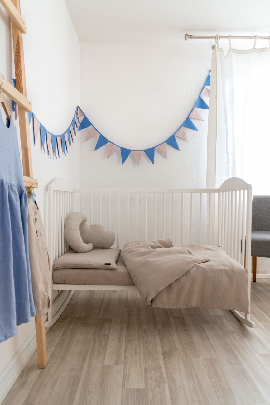 Two-piece baby bedding set from natural linen