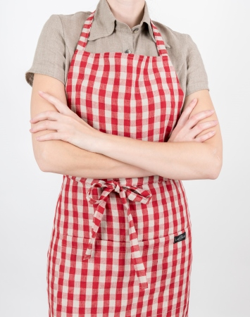 Vichy linen bib apron with a double pocket