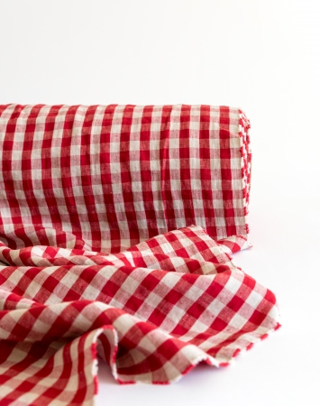 Vichy red & natural linen with gingham pattern