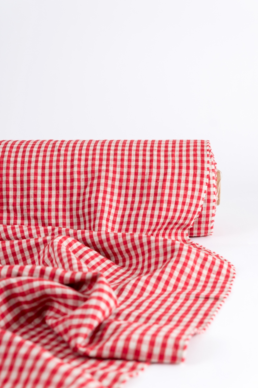 Vichy red & natural linen with mini ckeck pattern