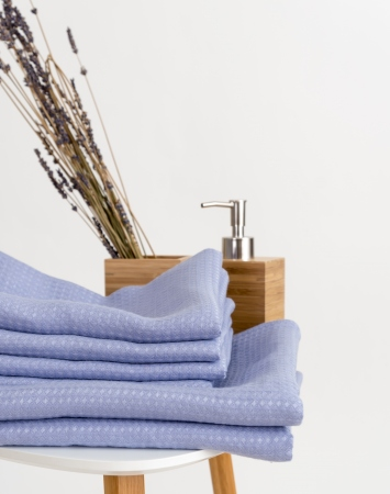 Waffle linen bath towels in pale periwinkle