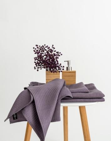 Waffle linen bath towels in plum