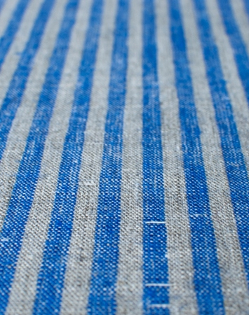 Washed blue & natural linen with candy stripe pattern