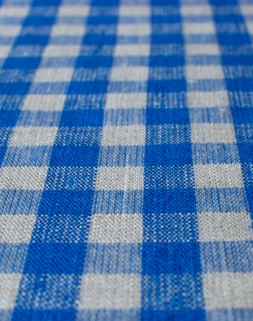 Washed blue & natural linen with gingham pattern