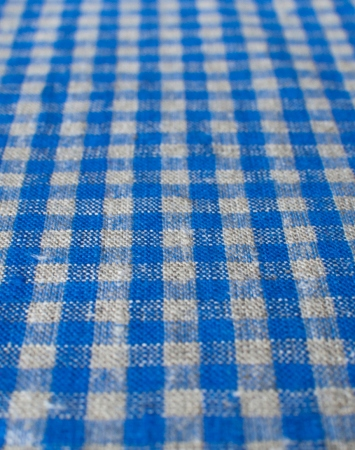 Washed blue & natural linen with mini ckeck pattern