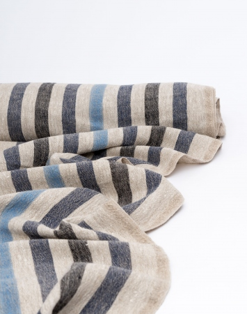 Washed linen fabric with dark blue stripes