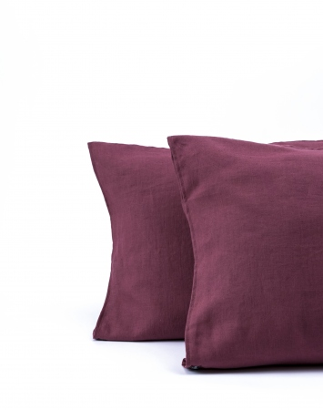 Washed linen pillowcase in marsala