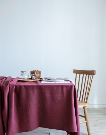 Washed linen tablecloth in marsala red