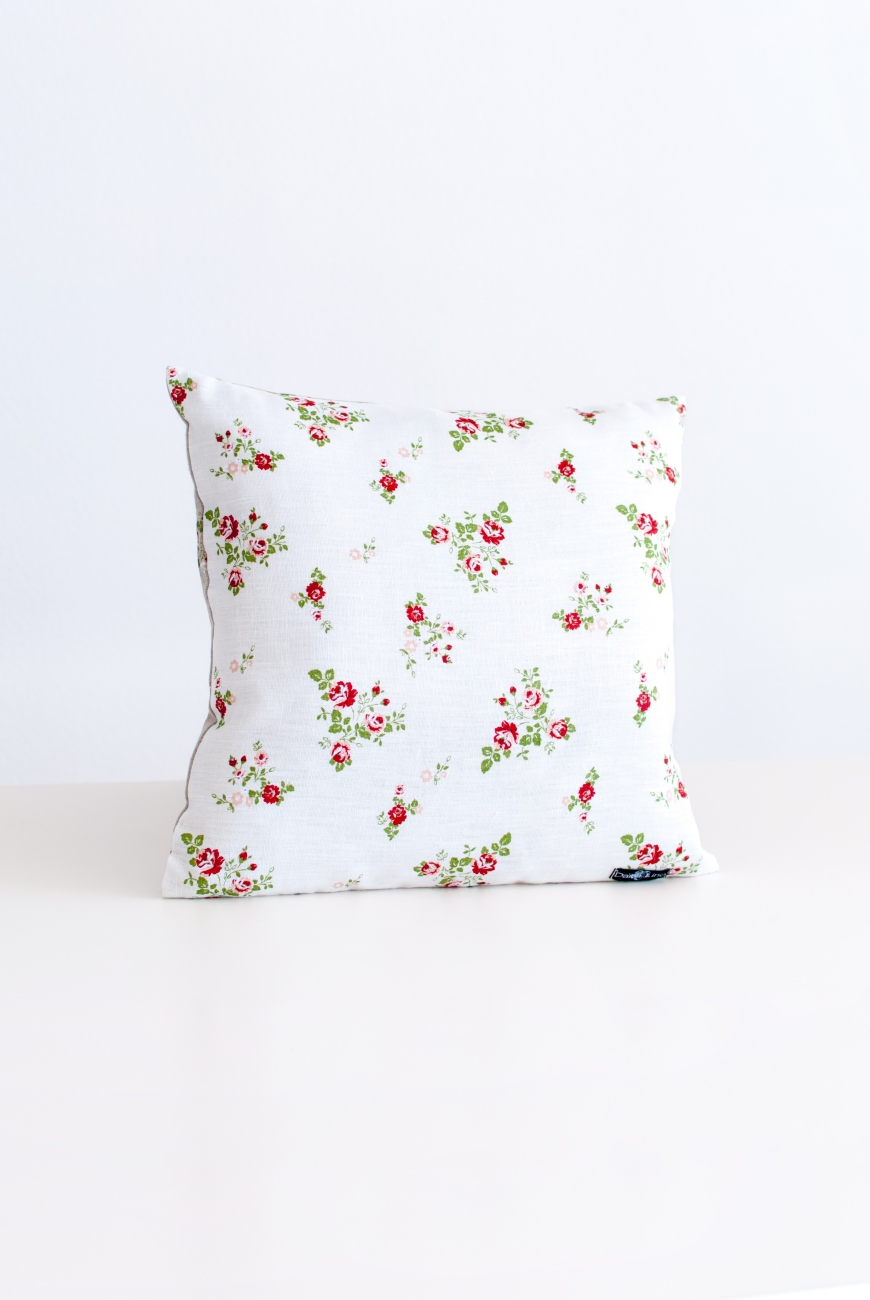 White floral linen cushion covers