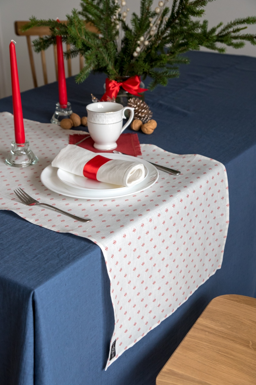 White linen Christmas table runner with red print